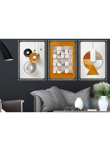 Çerçeve Home  Orange Love Inox Çerçeve Tablo Seti Füme